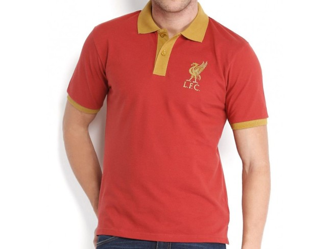 Contrast Collar Polo Rusty Red